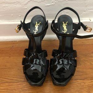YSL Tribute Patent Platform Sandals/Heels